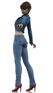 Woman in tight jeans