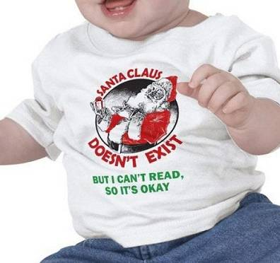 Baby wearing funny Santa Claus jersey